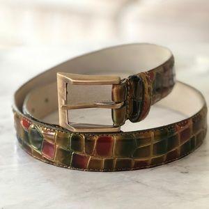 Vintage Jewel Toned Calf-Skin Leather Belt